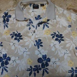 izod mens polo shirt white blue yellow floral sz L